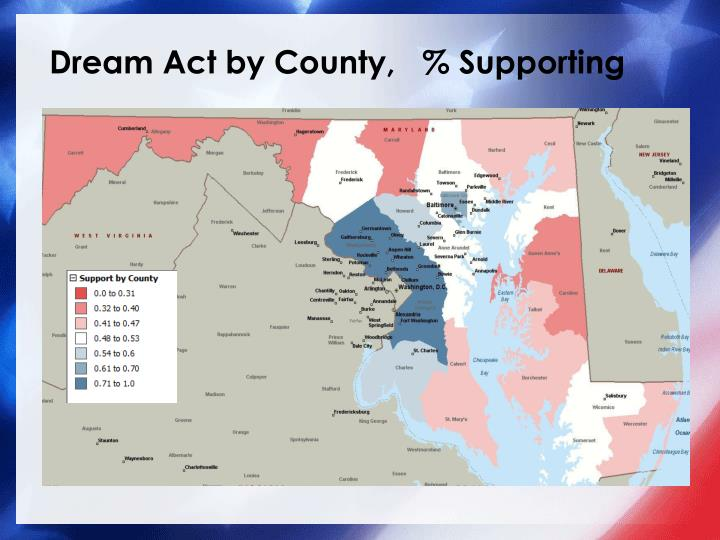 Dream Act by County,   % Supporting