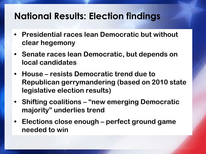 National Results: Election findings