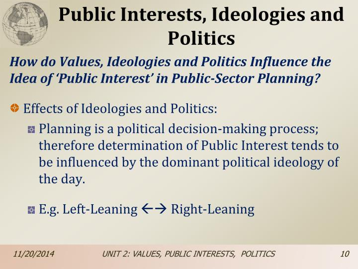 Public Interests, Ideologies and Politics