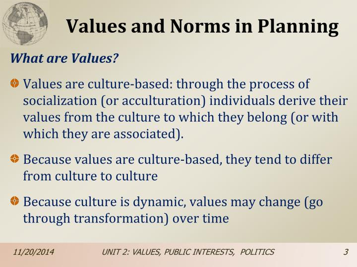 Values and norms in planning1