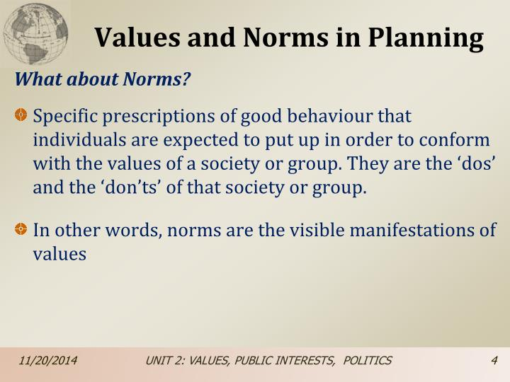 Values and Norms in Planning