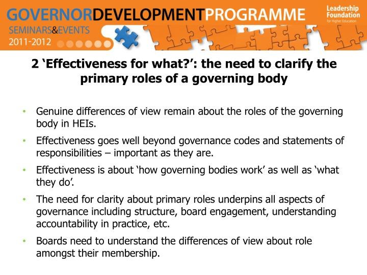 2 'Effectiveness for what?': the need to clarify the primary roles of a governing body