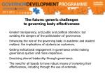 the future generic challenges to governing body effectiveness