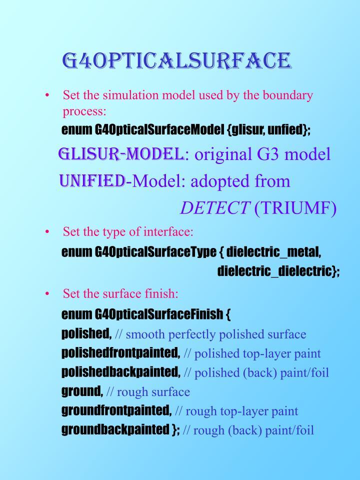 G4OpticalSurface