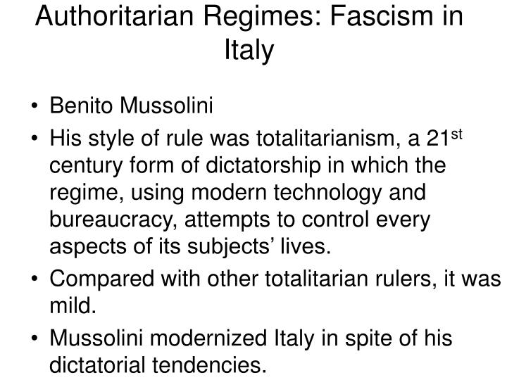 Authoritarian Regimes: Fascism in Italy