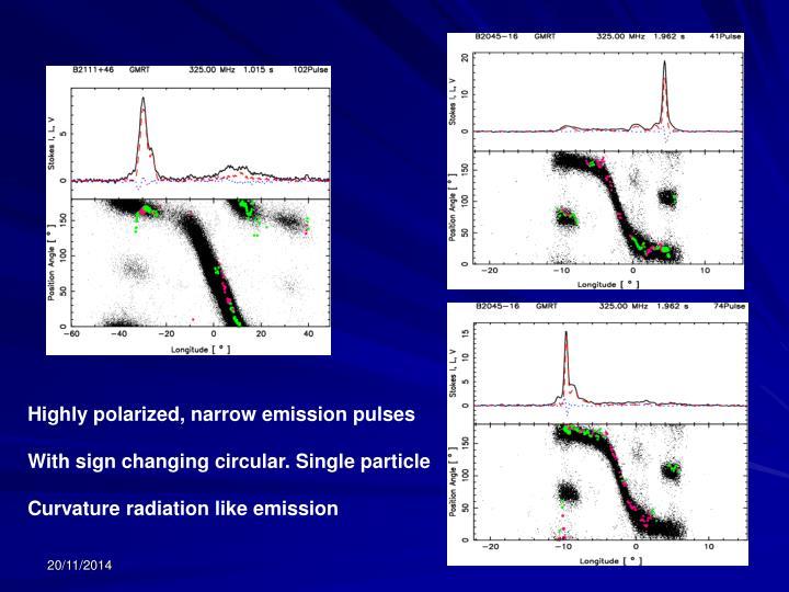 Highly polarized, narrow emission pulses