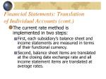 financial statements translation of individual accounts cont