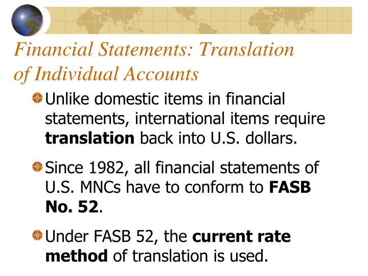 Financial Statements: Translation