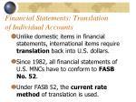 financial statements translation of individual accounts