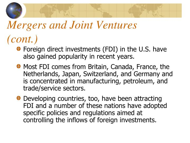 Mergers and Joint Ventures (cont.)