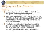mergers and joint ventures cont