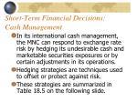 short term financial decisions cash management