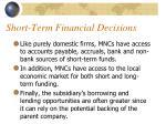 short term financial decisions