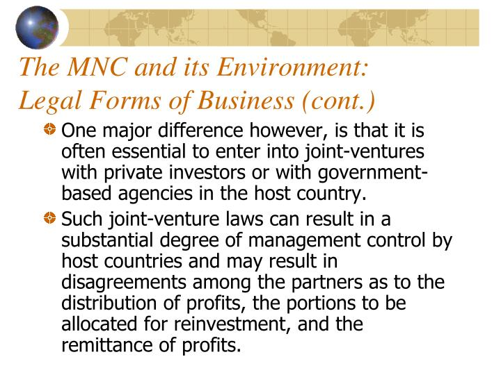 The MNC and its Environment: