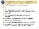 the mnc and its environment taxes
