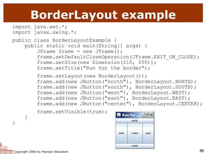 BorderLayout example