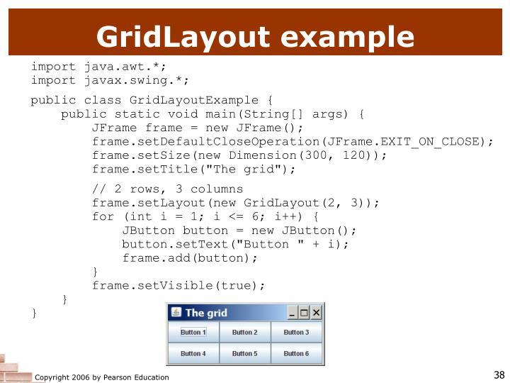 GridLayout example