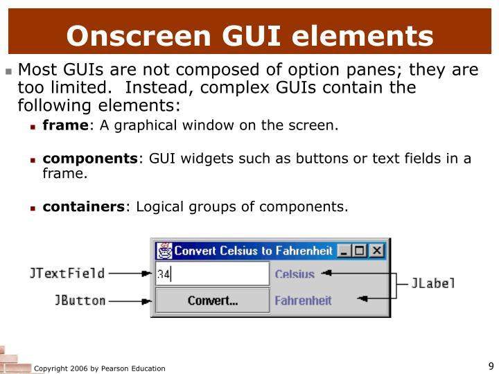 Onscreen GUI elements