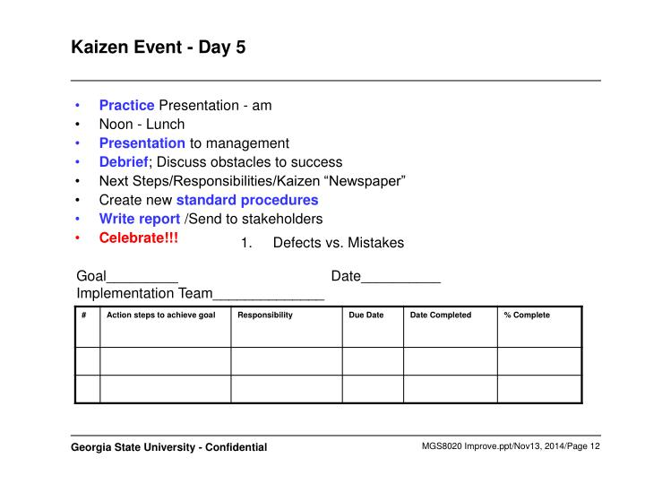 Kaizen Event - Day 5
