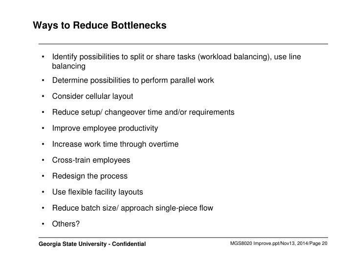 Ways to Reduce Bottlenecks