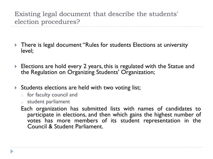 Existing legal document that describe the students' election procedures?