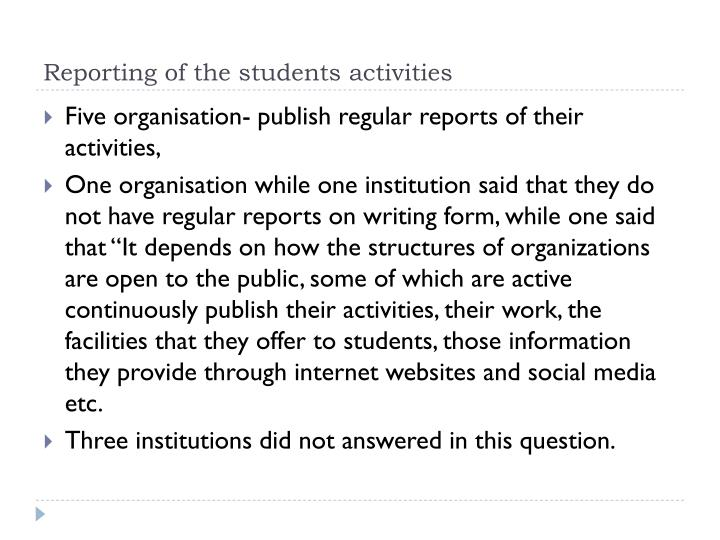 Reporting of the students activities