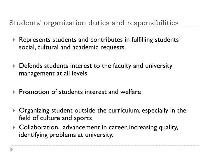 Students' organization duties and responsibilities