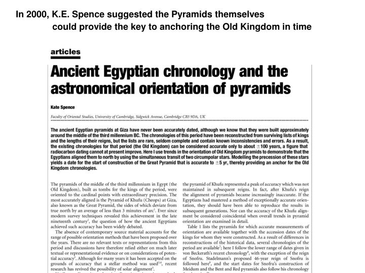 In 2000, K.E. Spence suggested the Pyramids themselves