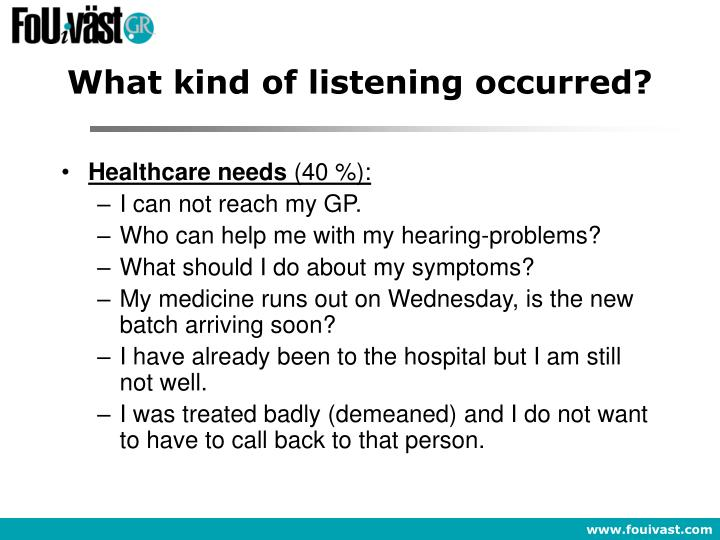What kind of listening occurred?