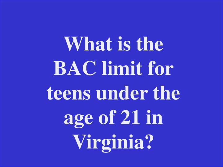 What is the BAC limit for teens under the age of 21 in Virginia?