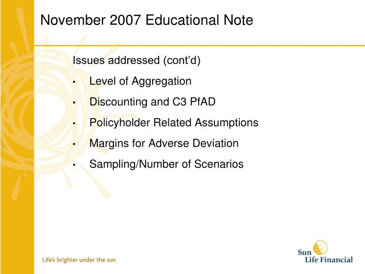 November 2007 Educational Note