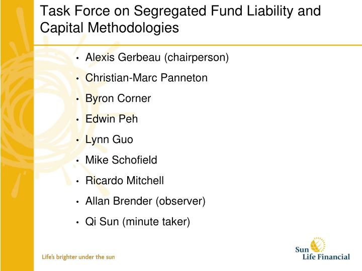 Task Force on Segregated Fund Liability and Capital Methodologies