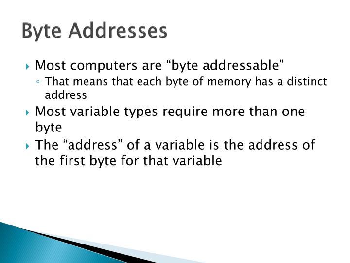 Byte Addresses