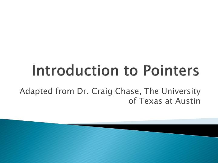Introduction to pointers