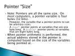 pointer size