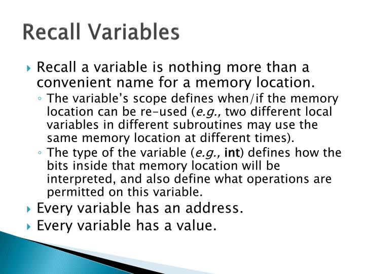 Recall variables