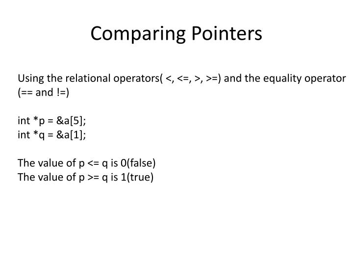 Comparing Pointers