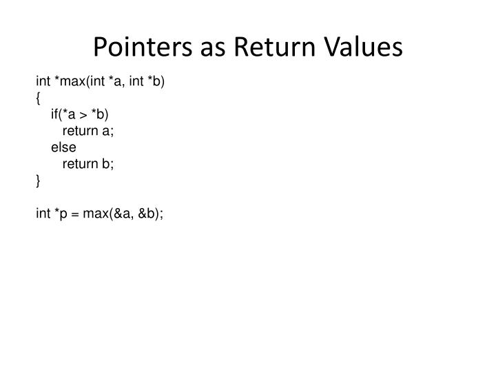 Pointers as Return Values