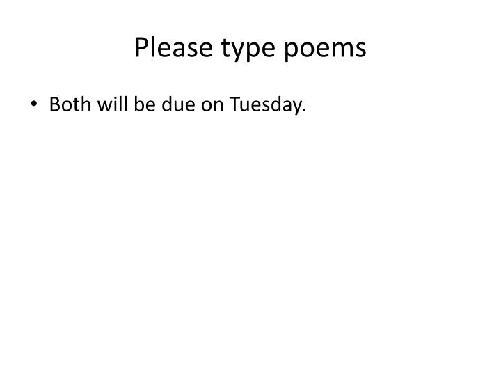 Please type poems