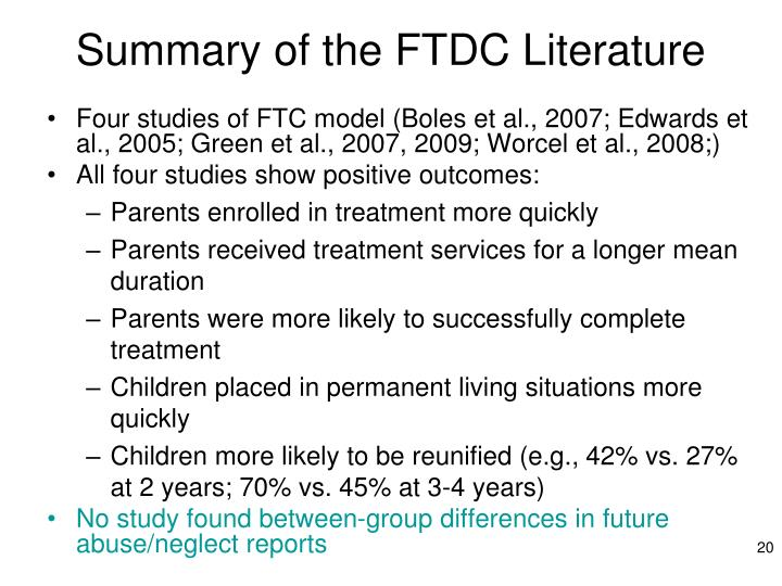 Summary of the FTDC Literature