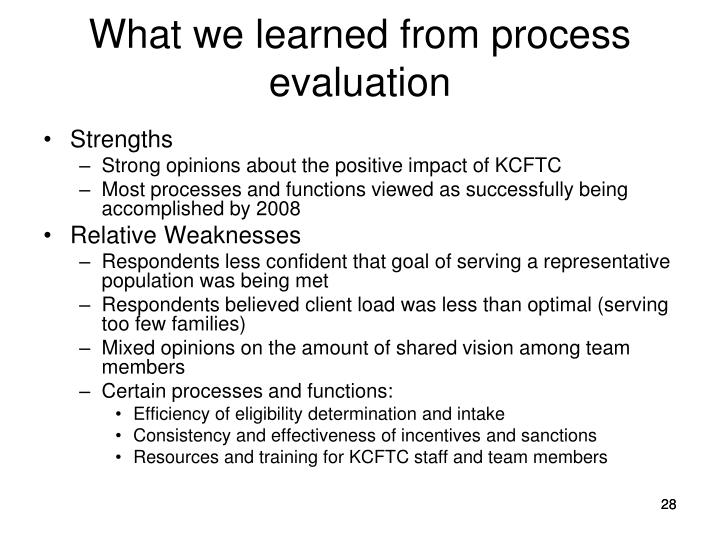 What we learned from process evaluation