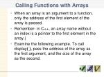 calling functions with arrays