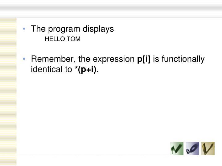 The program displays