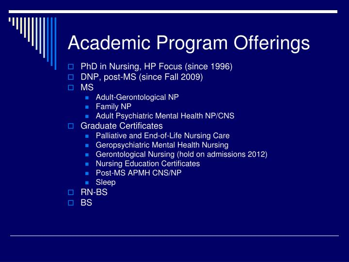 Academic Program Offerings