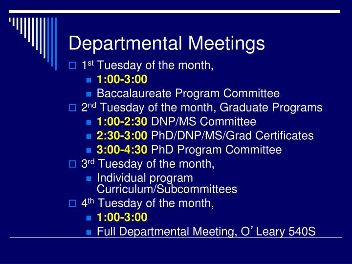 Departmental Meetings