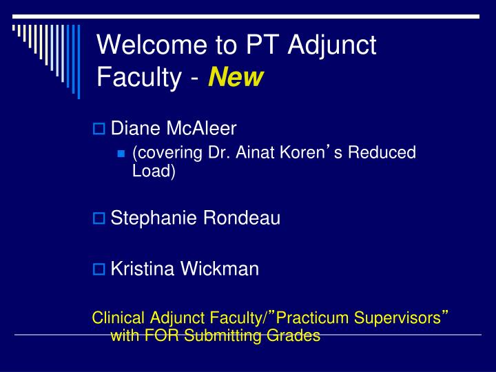 Welcome to PT Adjunct Faculty -