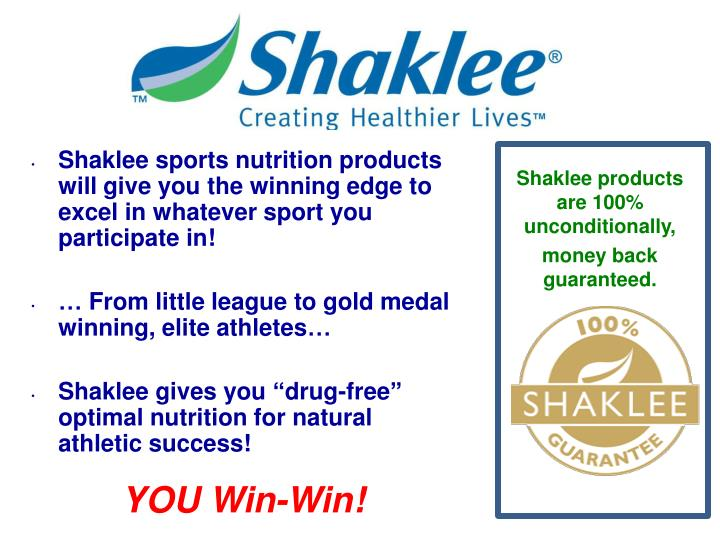 Shaklee sports nutrition products will give you the winning edge to excel in whatever sport you participate in!