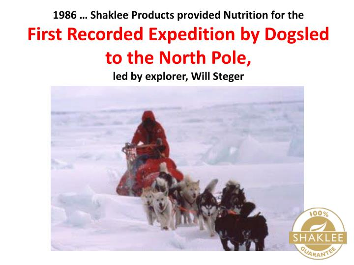 1986 … Shaklee Products provided Nutrition for the