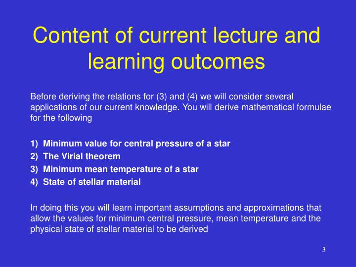 Content of current lecture and learning outcomes