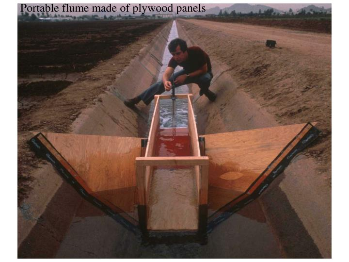 Portable flume made of plywood panels